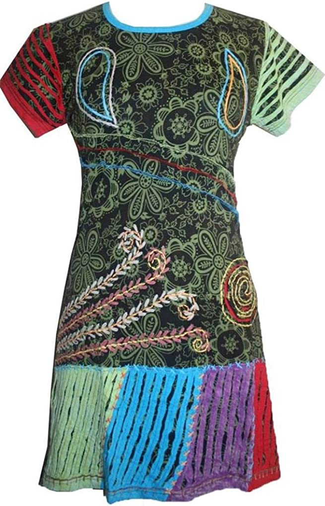 06 RD Knit Cotton Razor Cut Embroidered Summer Short Baby Doll Dress