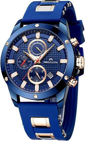 MEGALITH Reloj Hombre Azul Cronografo Reloj Grande Hombre Deportivo Analógico Reloj de Pulsera de Goma Impermeable Luminosos: Amazon.es: Relojes