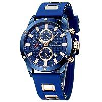 Men's Watches, Waterproof Sports Chronograph, Large Designer Wrist Watch, Men's Business Fashion, Luminous Date, Fashionable Analogue Rubber Watch