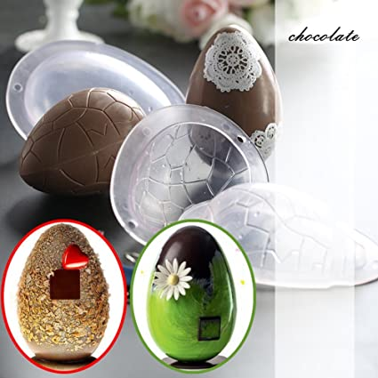 Amazon.com: Egg Candy Mold Easter Chocolate Egg Mold Cake Decorating Molds with Lines: Kitchen & Dining