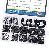 Glarks 328-Pieces 9 Size Black Alloy Steel E-Clip