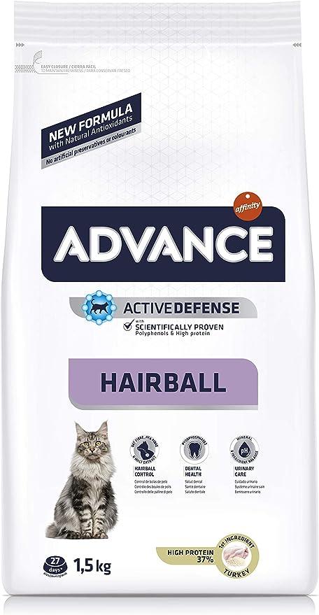 ADVANCE Hairball Pienso para Gatos con Pavo - 1,5KG