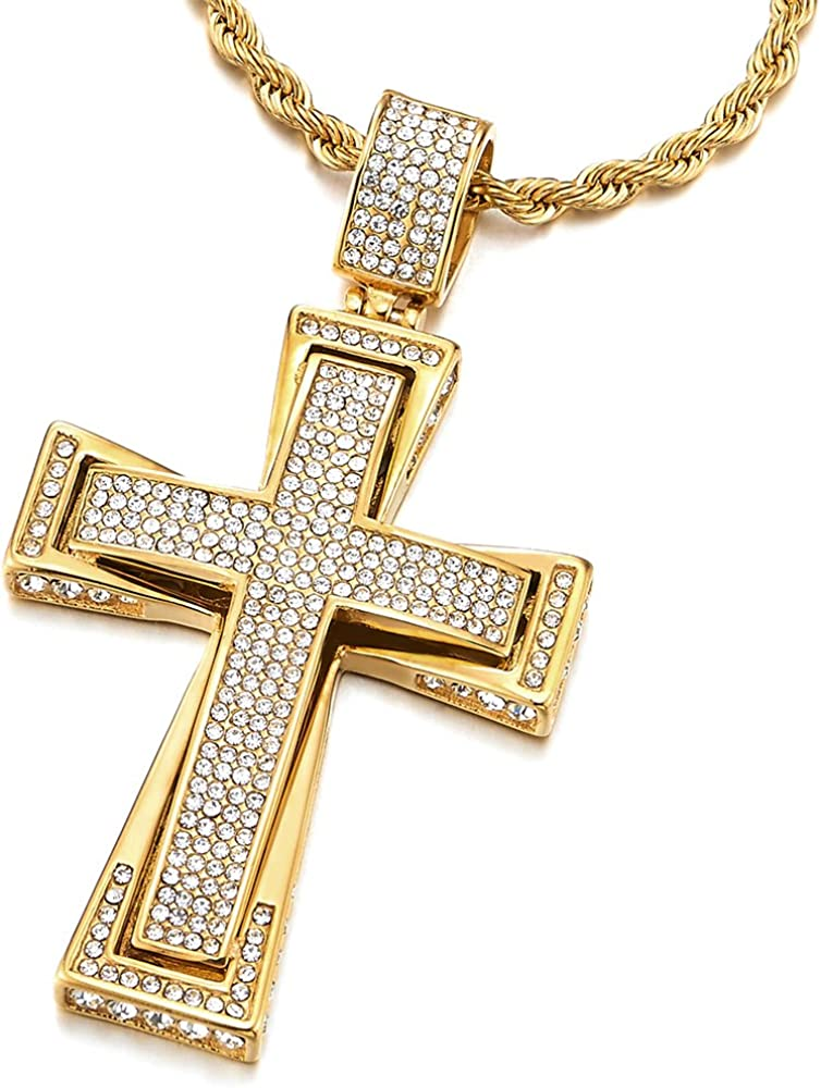 COOLSTEELANDBEYOND Mens Womens Large Steel Cross Pendant Necklace with Cubic Zirconia and 30 inches Wheat Chain