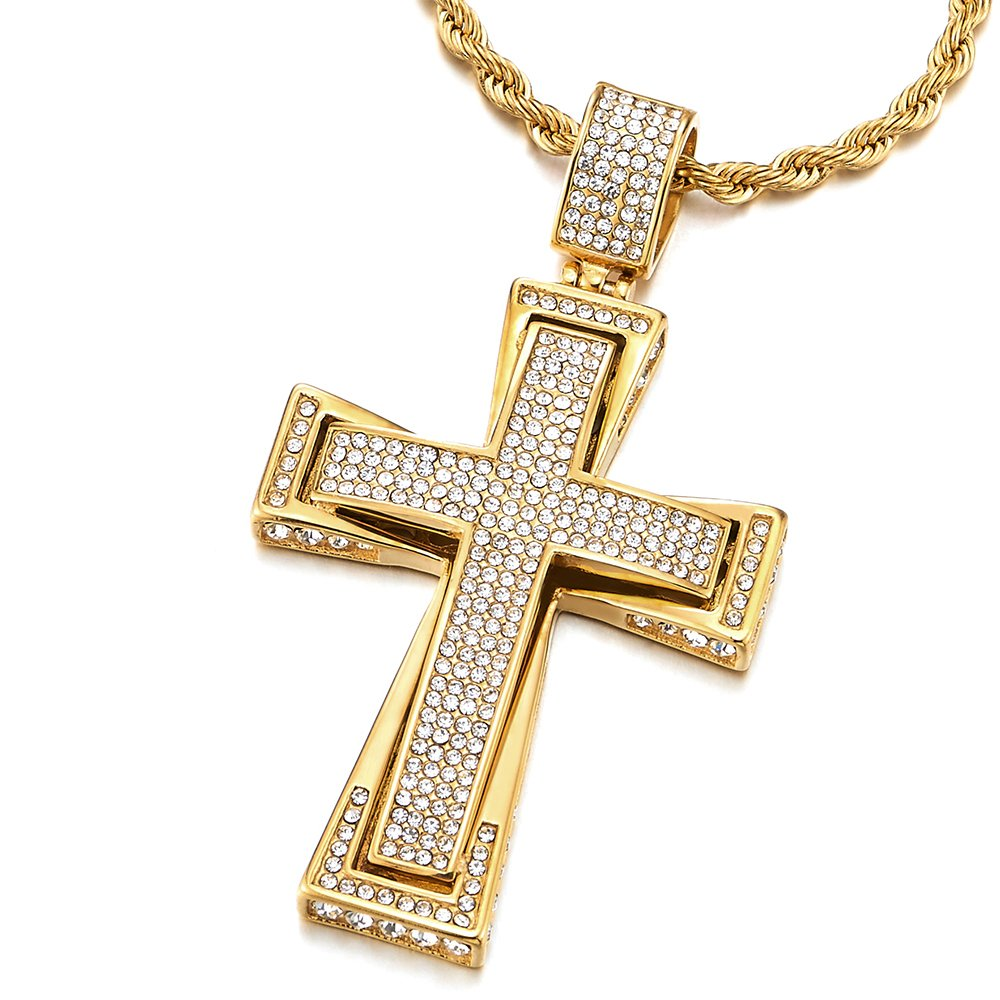 Mens Womens Large Gold Color Steel Cross Pendant Necklace with Cubic Zirconia, 30 inches Wheat Chain COOLSTEELANDBEYOND MP-804-CA