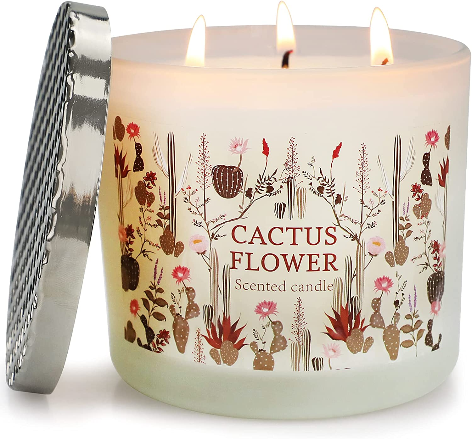 Inayou Large 3 Wick Candle for Home Scented, Cactus Flower Scented Candle,14.6Oz Natural Soy Wax, 125H Long-Lasting Candle for Women Gift