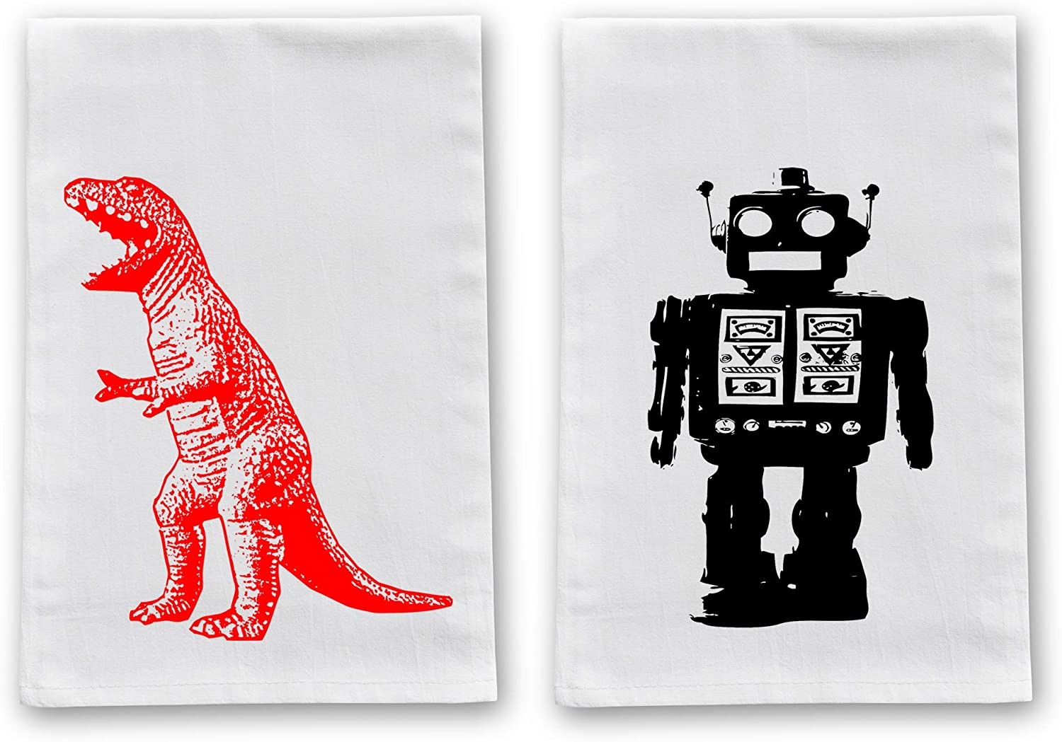 Happy Family Clothing Funny Kitchen Tea Towels, Decorative Flour Sack Dish Towels, Dishcloths Gift Set of 2 (Geeky Robot & T-Rex - 2 Pack)