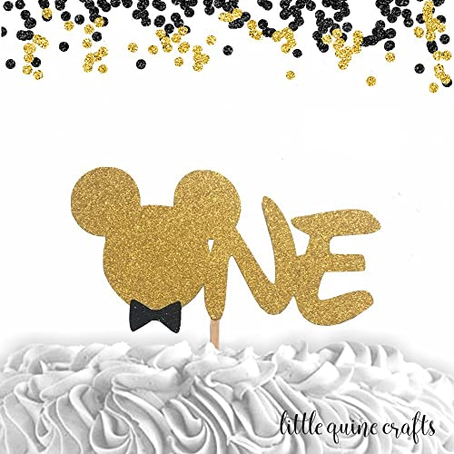 Amazon 1 Pc ONE BOW TIE Mickey Mouse Head Gold Black Glitter