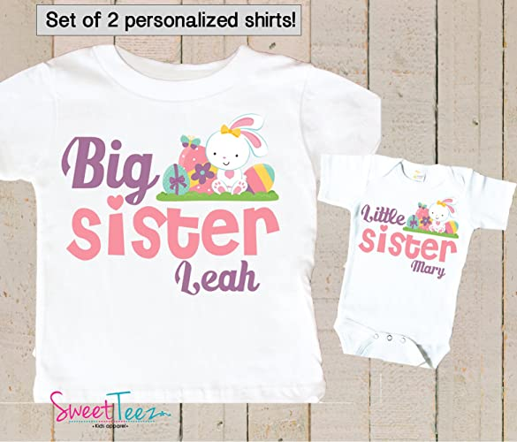 ad2766cf5 Amazon.com: Big Sister Little Sister Shirt Personalized Easter Shirt Girl  Set of 2 Shirts Bunny: Handmade