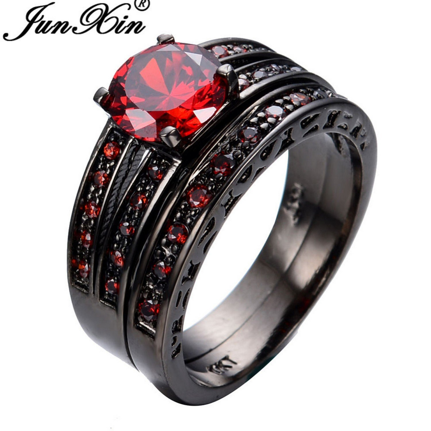 Slyq Jewelry Size 6 7 8 9 10 Red Jewelry 2pcs Red Fashion Engagement Ring Set Black gold Filled Rings for Women and Men