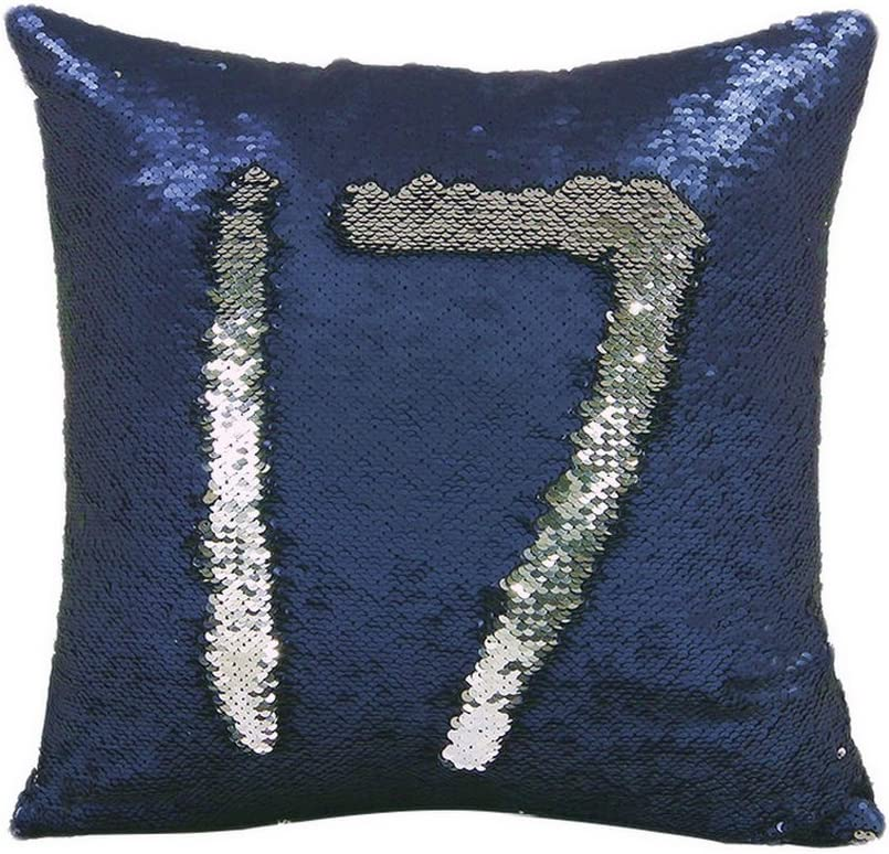 Navy Blue Embroidered Bed Runner Set Silver Metallic Reversible Sequin Cushion