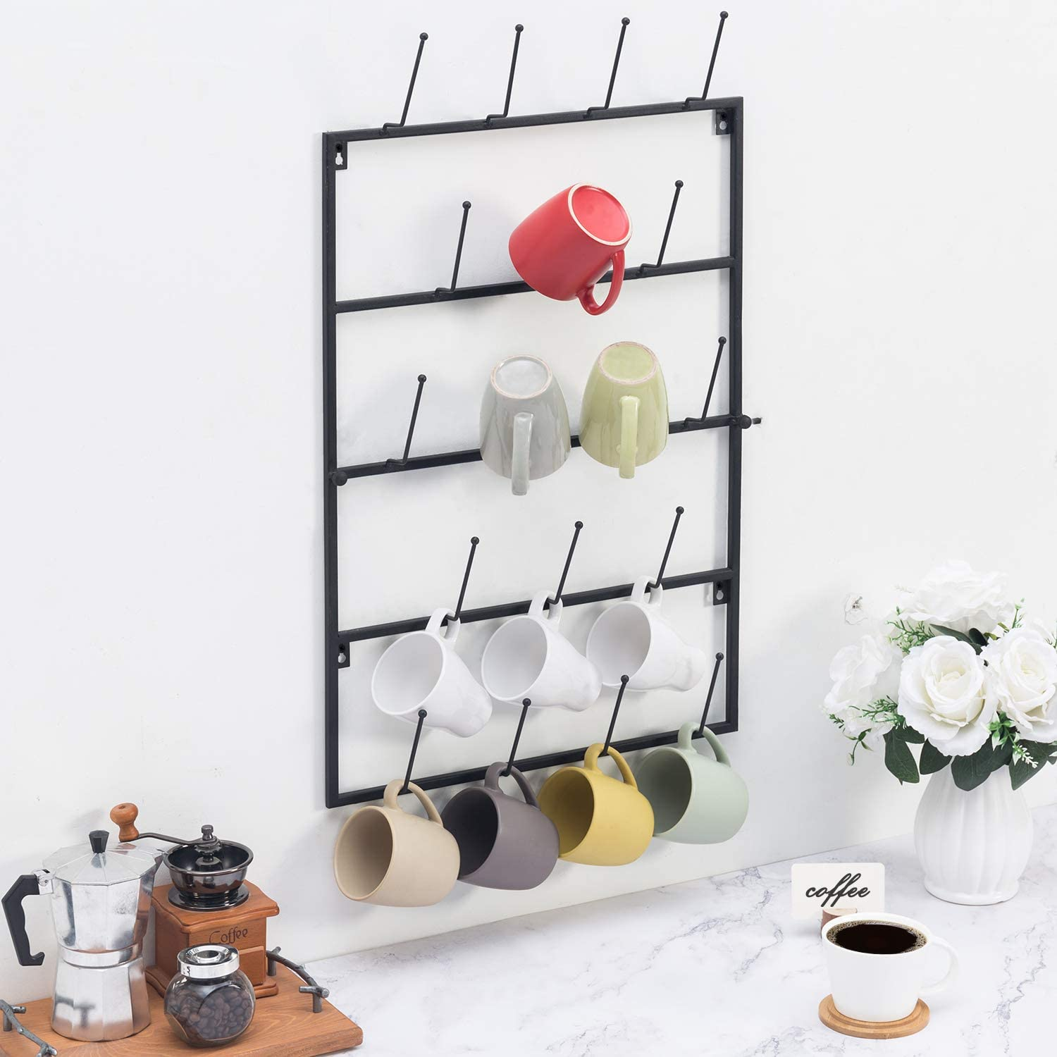 Amazon Com Mygift 5 Tier Black Metal Wall Mounted Kitchen Mug Hook Display Cup Storage Organizer Hanger Rack