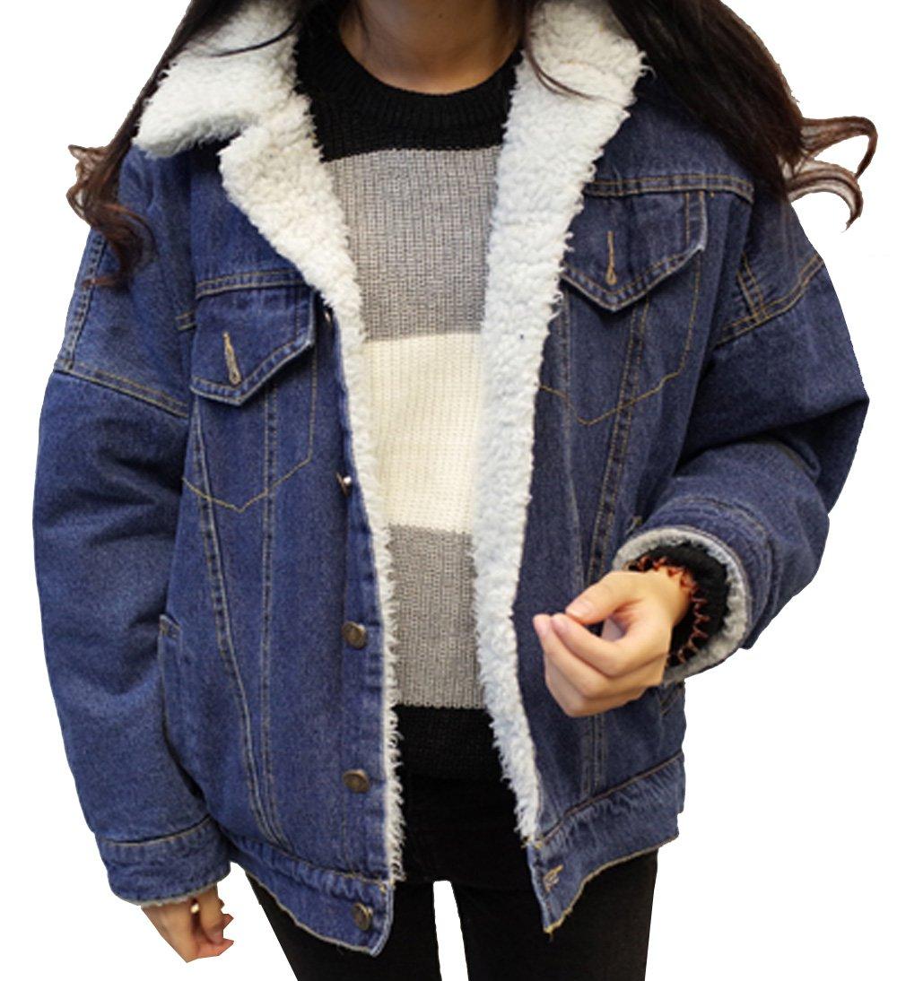 Aishang Women's Classic Loose Lapel Fleece Lined Denim Jackets Coats (X-Small, Blue)