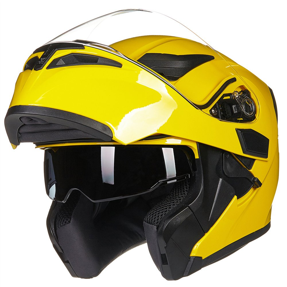 ILM Motorcycle Dual Visor Flip up Modular Full Face Helmet DOT with 6 Colors (S, YELLOW)