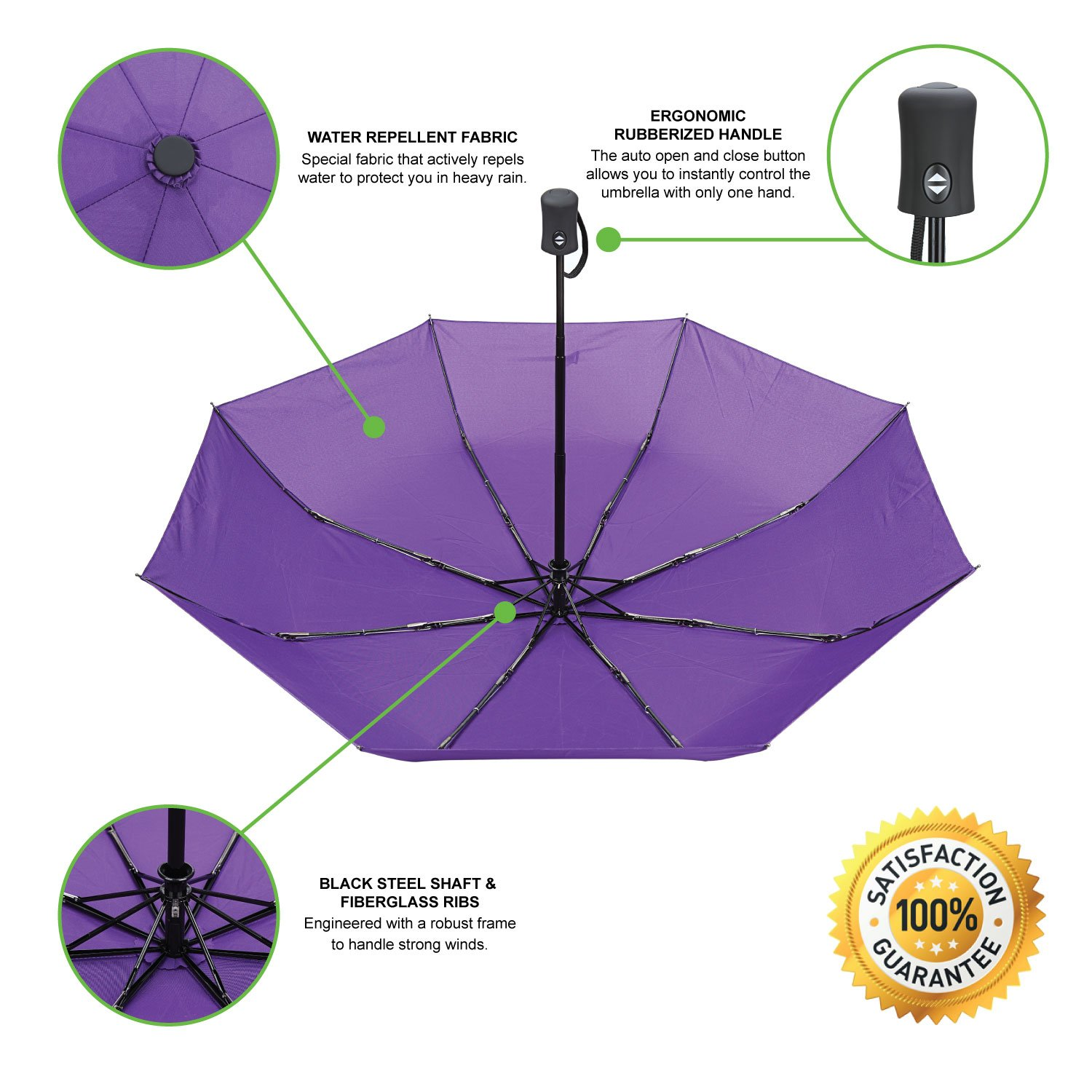 Automatic Open Close with Rain Repellent Fabric portable umbrella Vumos Umbrella with Waterproof Case