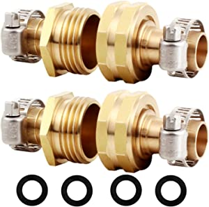 "YELUN Solid Brass Hose Repair Connector with Stainless Steel Clamps,Fit for 5/8"" Garden Hose Fitting,Male and Female Hose Fittings(5/8""-2 Set)"