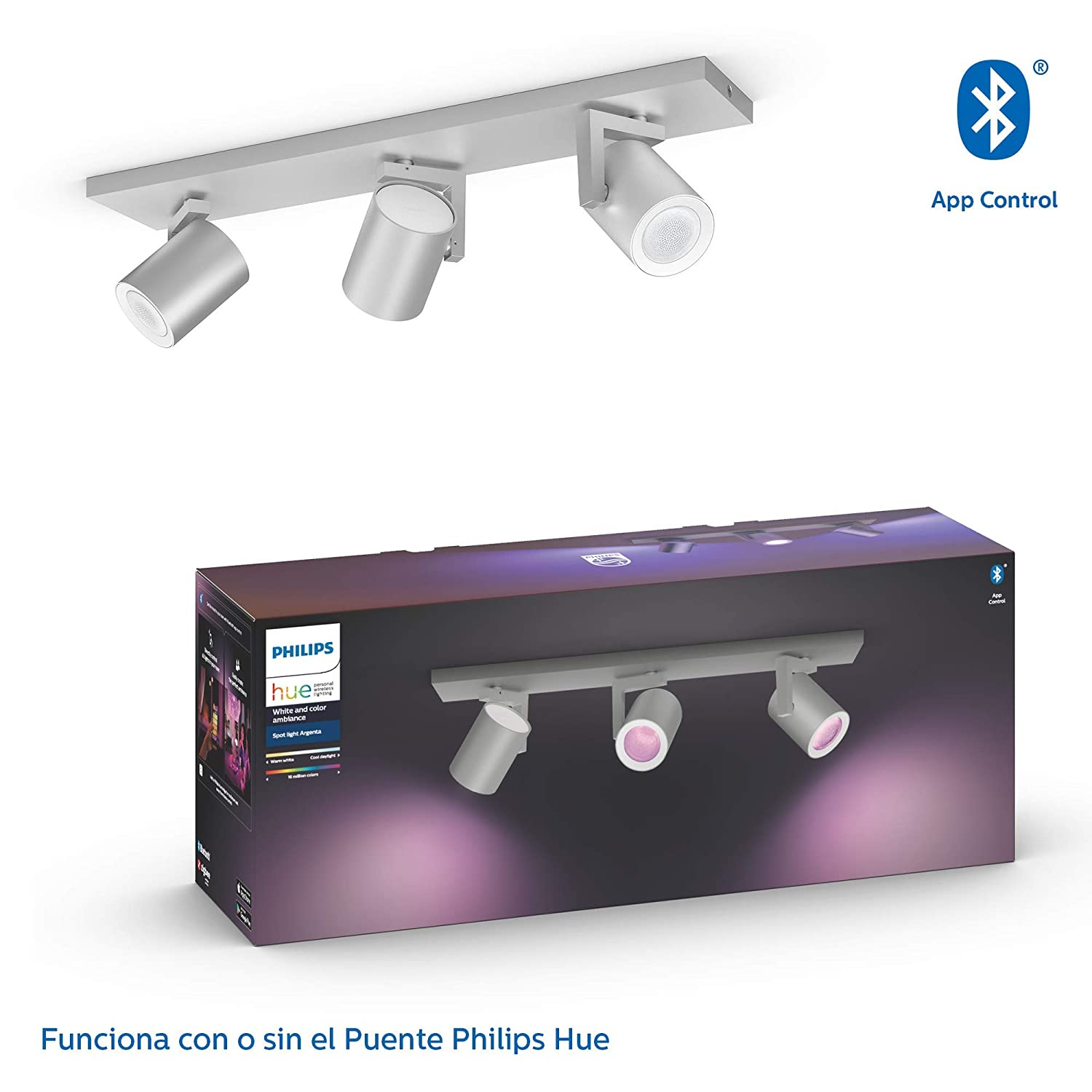 Philips Hue White and Color Ambiance Argenta 3 focos LED ...