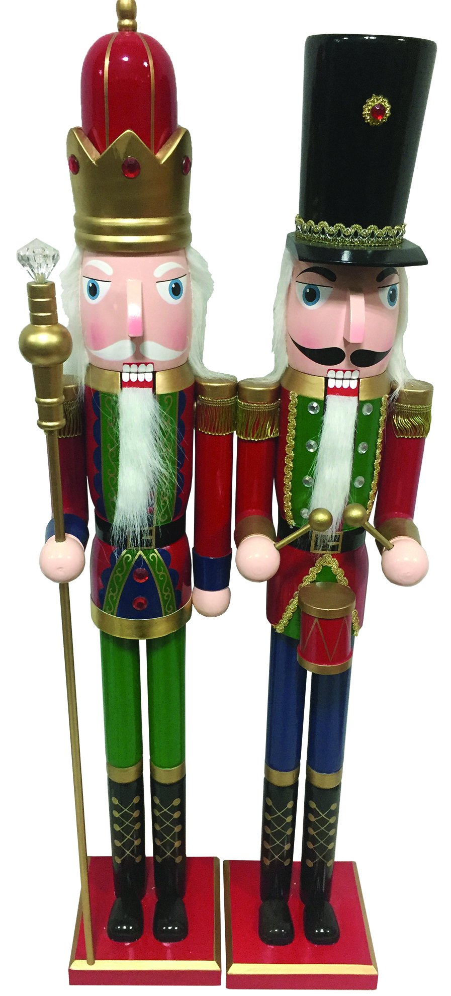 Santa's Workshop 70010 Royal King and Drummer Nutcrackers, Set of 2, 36'', Multicolored, 2 Piece