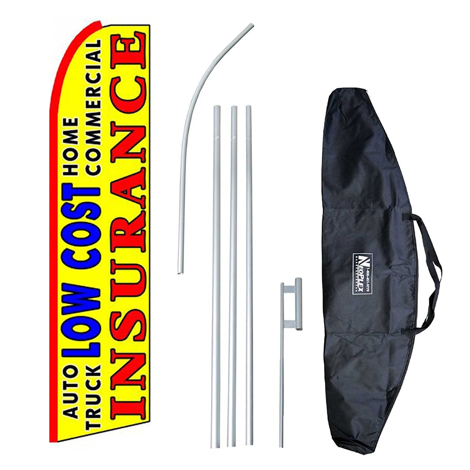 """Low Cost Insurance (Extra Wide)"" 12-foot Swooper Feather Flag and Case Complete Set...includes 12-foot Flag, 15-foot Pole, Ground Spike, and Carrying/Storage Case"