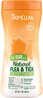 product image for TropiClean Natural Flea & Tick Carpet Powder for Dogs, 11oz, Made in USA