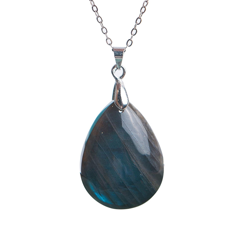 Genuine Natural Blue Labradorite Water Drop Crystal Pendant 29x21x8 mm