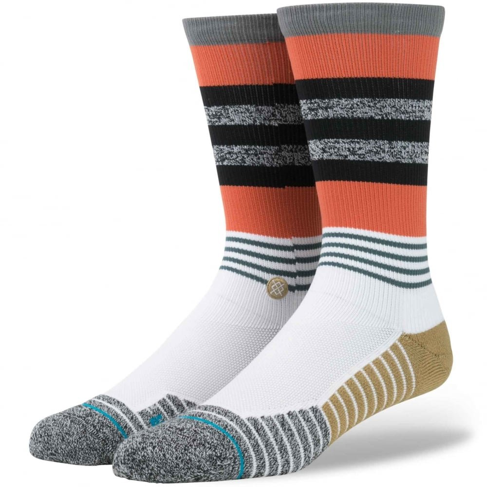 Stance Men's Triot Light Cushion Crew Sock, Orange, Sock Size:10-13/Shoe Size: 6-12
