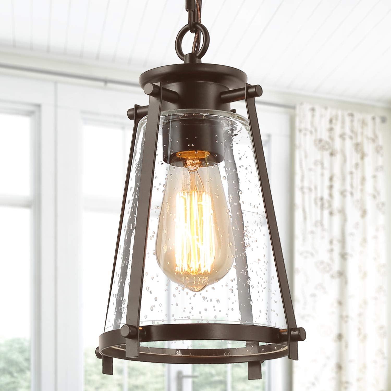 KSANA Bronze Pendant Lighting for Kitchen Island, Rustic Industrial Pendant Light with Seeded Glass