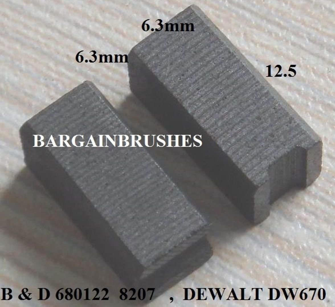 CARBON BRUSHES TO FIT DEWALT 930760-00 DW670 5417,BD11,BD5,BD779,BD780,DN11 6x6x12mm-A3