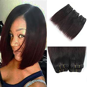 Amazon 7a Unprocessed Virgin Hair 8 Inch Burgundy Weave