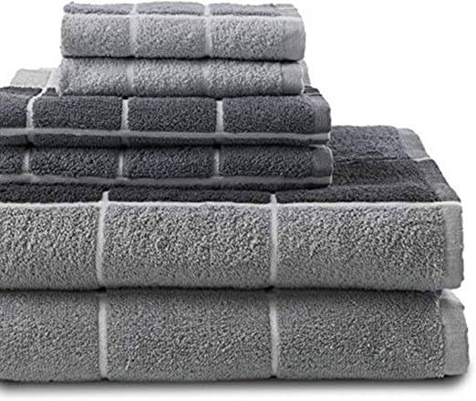 Grey 90-6133-004 Revere Mills Checkmate 6 Piece 100/% Cotton Yarn Dyed Towel Set