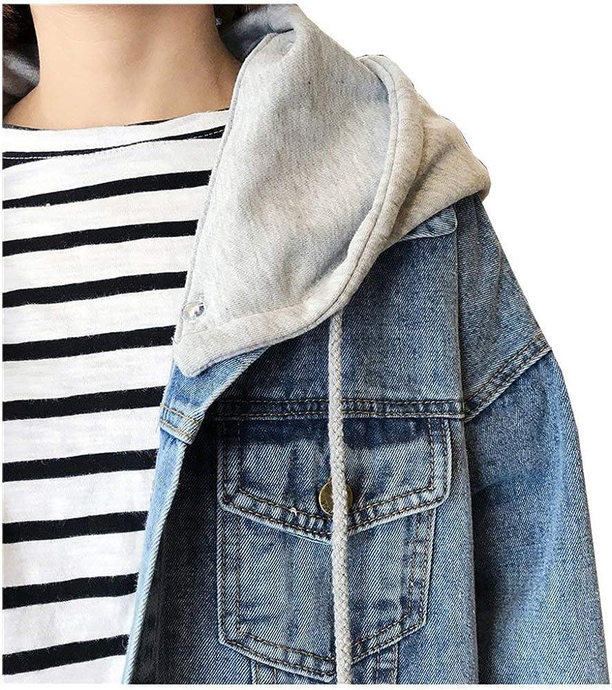 Kedera Womens Oversized Detachable Hoodie Denim Jackets Jean Coats XL