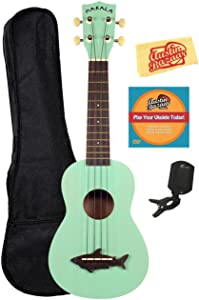 Kala MK-SS-GRN Makala Shark Soprano Ukulele - Surf Green Bundle with Gig Bag, Tuner, Austin Bazaar Instructional DVD, and Polishing Cloth