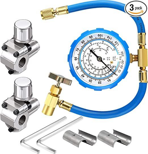 Refrigerant Can Tap with Gauge R134a can to R-12//R-22 port BPV31 Bullet Piercing Valve with R134a Charging Hose