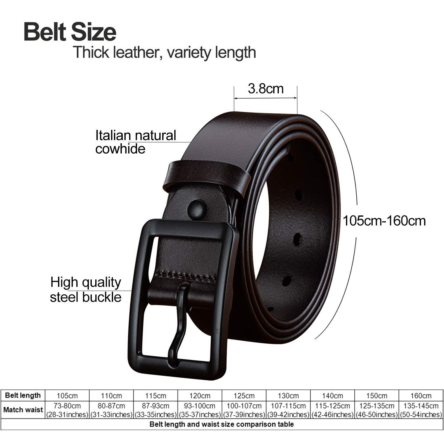 LUCIANO Classic Italy Cowhide Soft Genuine Leather Prong Buckle Dress Belt for Men
