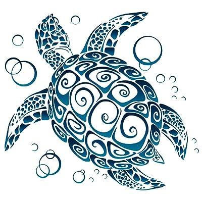 """UNIQUE BRIGHT Sea Turtle Tribal Window Sticker Decal (5"""" X 4.5""""): Automotive"""