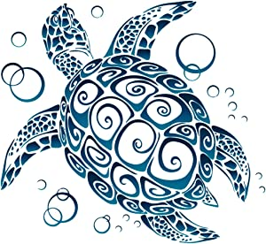 UNIQUE BRIGHT Sea Turtle Tribal Bumper Sticker Car Laptop Surfboard Kayak Skateboard Decal 5-by-4.5 Inches