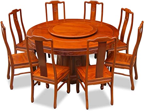 Amazon Com Chinafurnitureonline Rosewood Asian Dining Table 8 Chairs 60 Inch Round Longevity Natural Finish Table Chair Sets