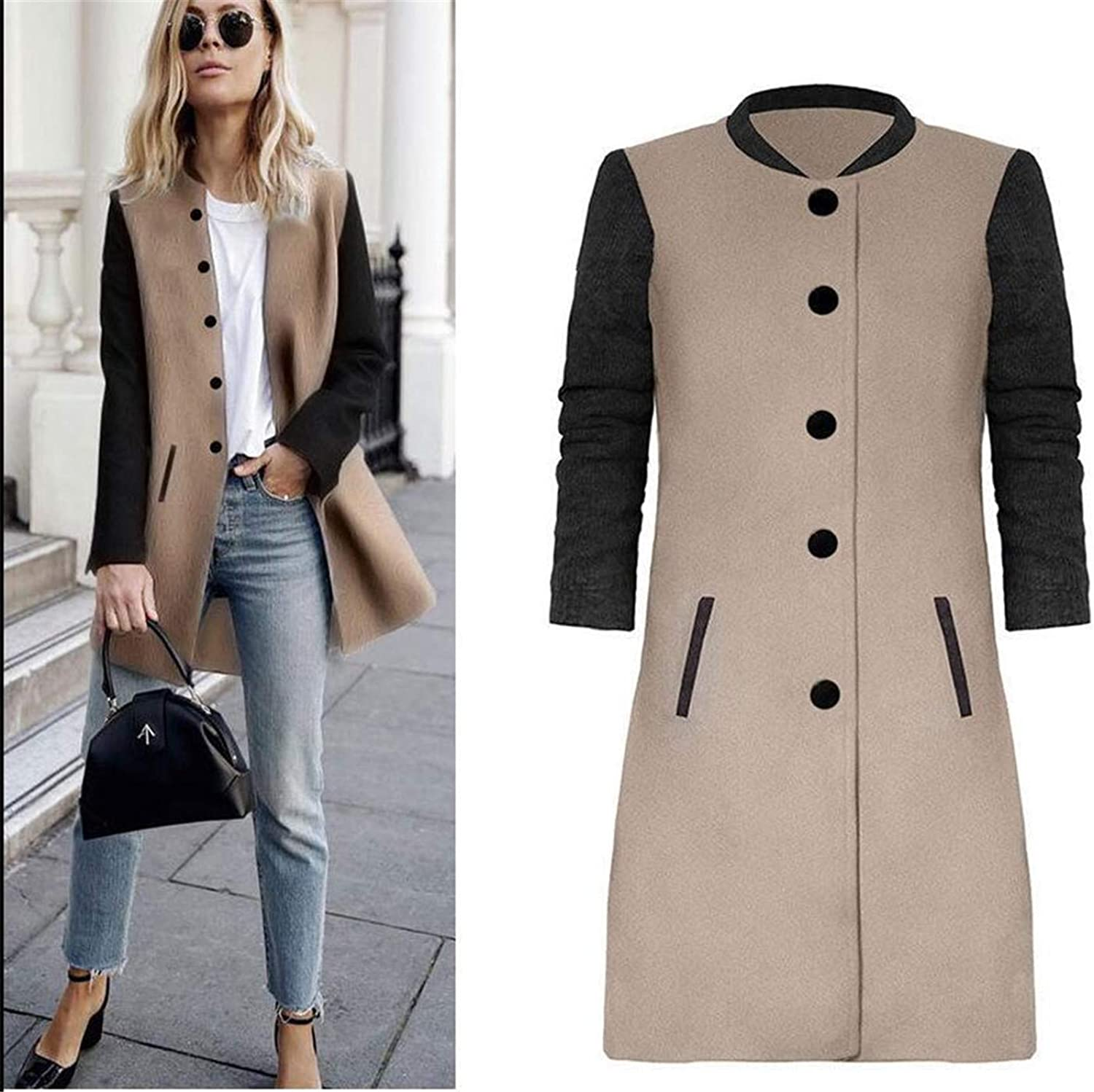 Soluo Womens Slim Fit Single Breasted Overcoat Color Block Pea Coat Outwear Jacket Tops
