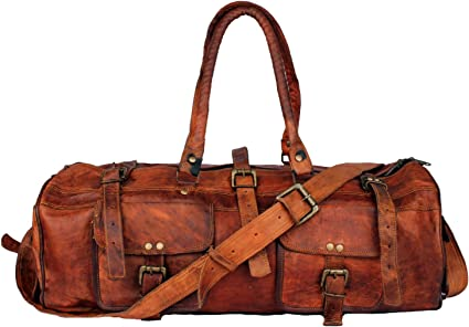 """30/"""" Large Brown Vintage Genuine Leather Goathide Travel Luggage Duffle Gym Bags"""