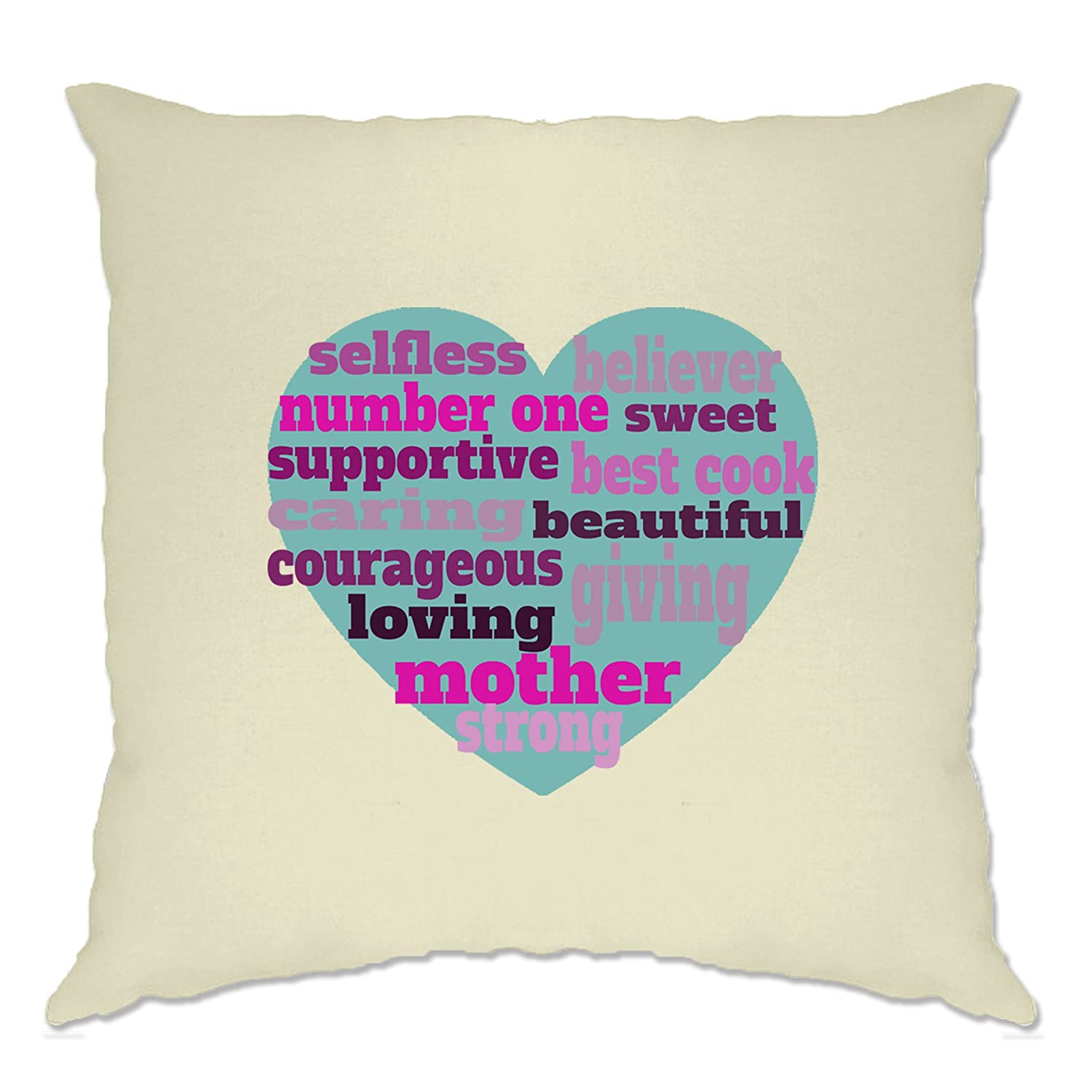 Tim And Ted Mother's Day Cushion Cover Heart Of Mum Mom Natural One Size
