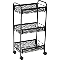 !!! Launching Offer !!! NHR Premium 3 Tier Multipurpose Collapsible, Foldable Metal Storage Organizer, Rack, Trolley, cart for Kitchen, Bathroom and Office with Wheel