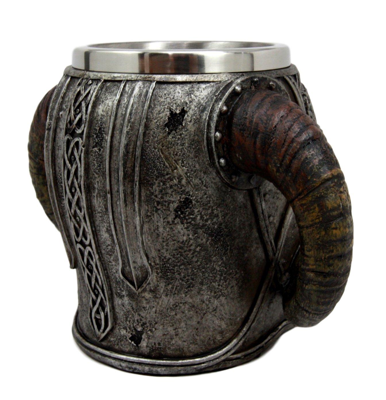 Ebros Gift Viking Ram Horned Pit Lord Warrior Skull With Battle Helmet Beer Stein Tankard Coffee Cup Mug 13oz Norse…