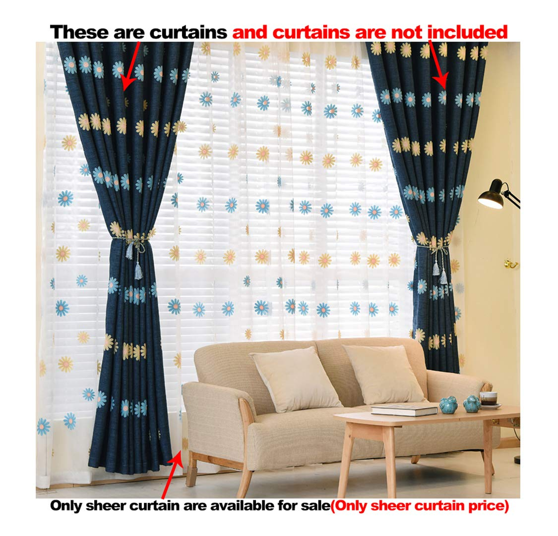 ASide BSide Leisure Style Rod Pocket Top Sunflowers Embroidered Sheer Curtains Transparent Window Decoration For Sitting Room Child Room and Houseroom (1 Panel, W 52 x L 104 inch, White)