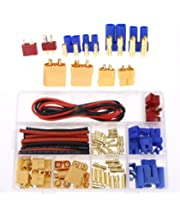 FPVKing Mini Tamiya to Deans T Plug Male Female Conversion Adapter 2 Pairs 16awg Silicone Cable Wire Connector for RC Batteries