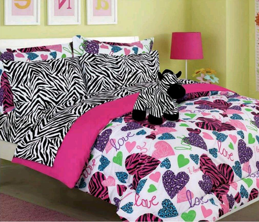 Amazon Com Girls Kids Bedding Misty Zebra Bed In A Bag