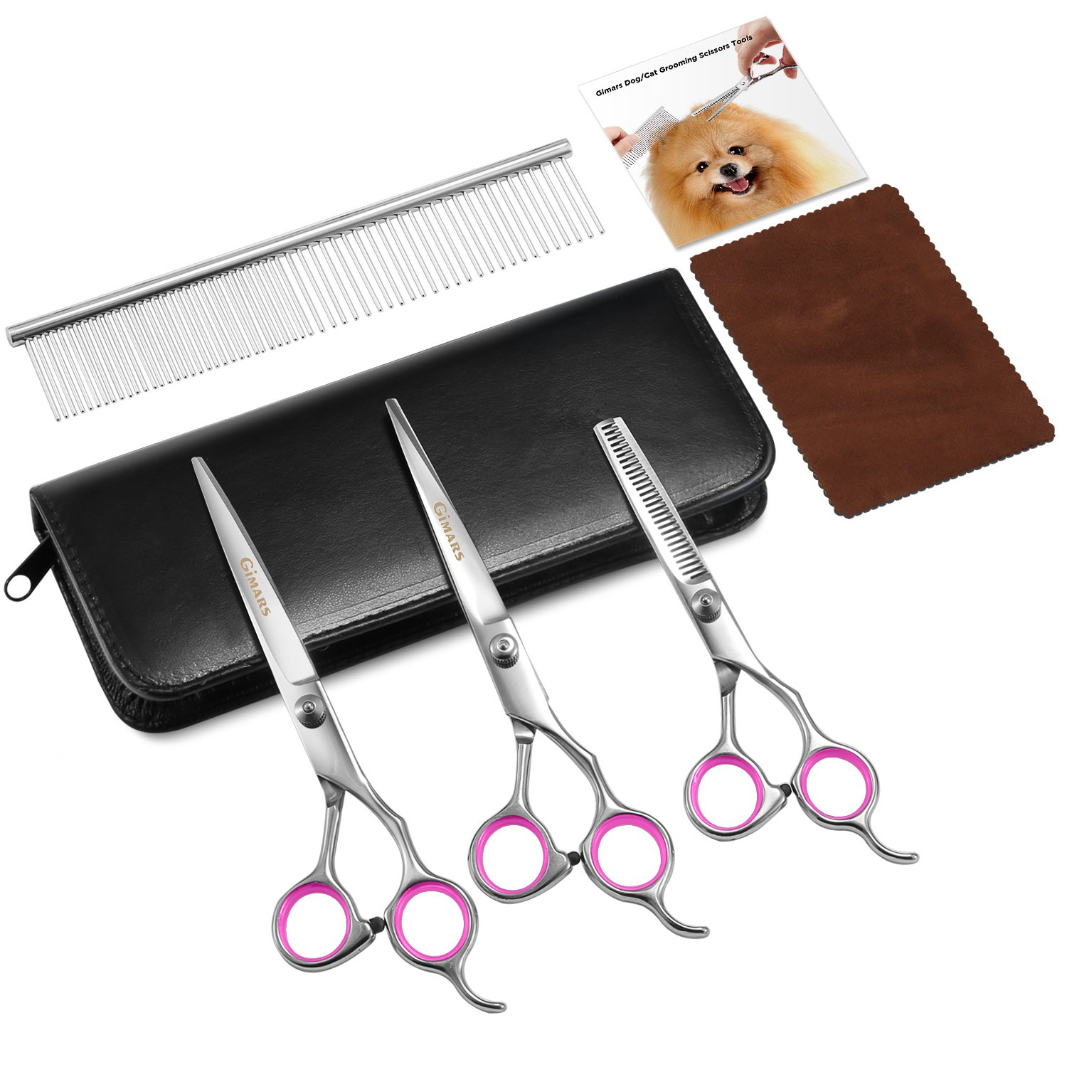 Gimars Heavy Duty Titanium Coated Stainless steel Dog Grooming Scissors Tools - Thinning, Straight, Curved Shears with Combs - Perfect Trimmer Kit for Long & Short Hair, Fur for Cat and More Pets