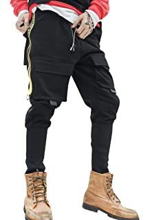 2398fff4a6ab7 MOKEWEN Men s Techwear Zipper Front Cargo Pocket Jogger Ankle Trousers  Pants with Elastic Waist Drawstring