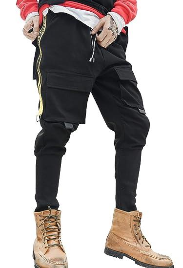 bd347b2fa52 MOKEWEN Men's Techwear Zipper Front Cargo Pocket Jogger Ankle Trousers Pants  with Elastic Waist Drawstring Black