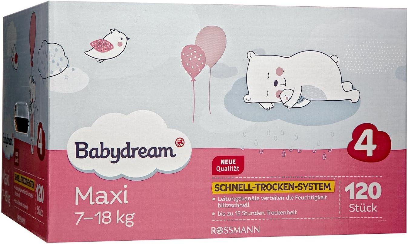 7-18 kg Schlaf-Gut-Vlies sanftweiche Oberfl/äche babydream Windeln Maxi Mega-Pack 120 St/ück Gr/ö/ße 4 Tag- /& Nachtsicherheit