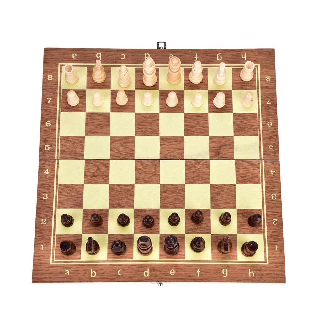 Walfront 3 in 1 Wooden Chessboard Chess Set Folding Board Chess/Checker/Backgammon Combination Game for Beginner Kids Party Family Activities