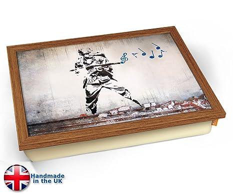 KICO Banksy Soldado música cojín Bandeja de Regazo, Wood ...